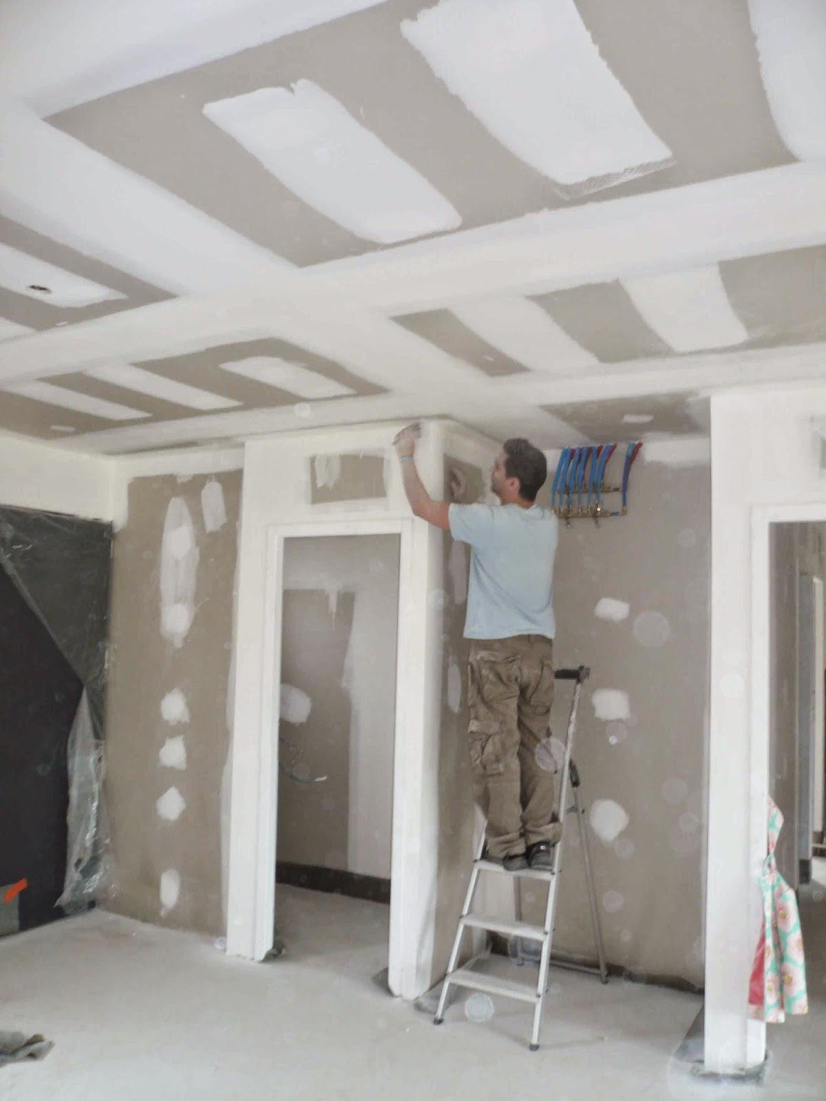 notre maison en bois semaine 13 pon age placos et peinture sous couche. Black Bedroom Furniture Sets. Home Design Ideas