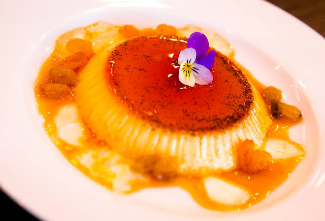 DESSERT Creme caramel with Sauterne jelly and golden raisins