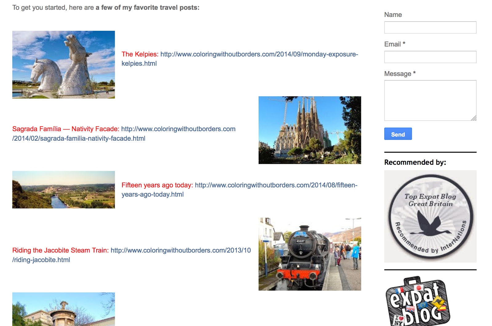 "Screenshot of ""Travels"" page"