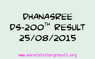 DHANASREE DS 200 Lottery Result 25-8-2015