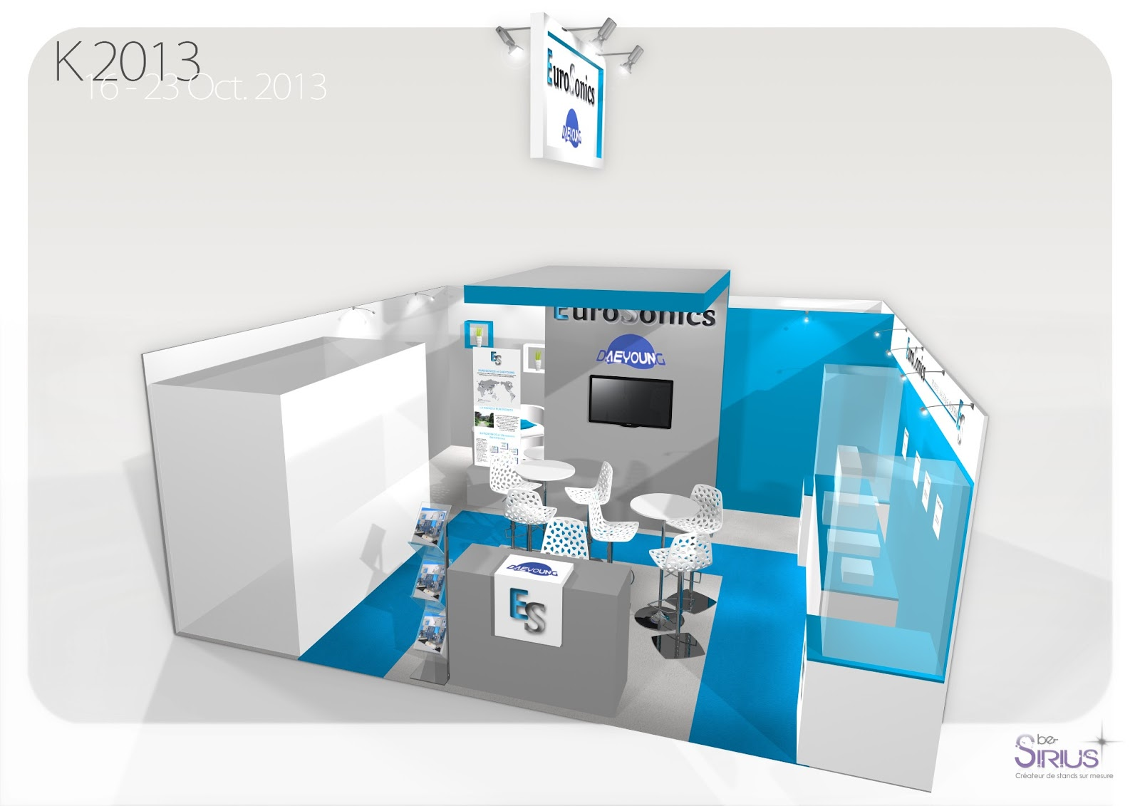 Be-Sirius a proposé sa version de stand en location, l'Econome, stand clé en main 100% personnalisable, a EUROSONICS SUR K2013.