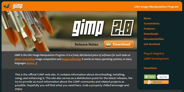 gimp website screenshot