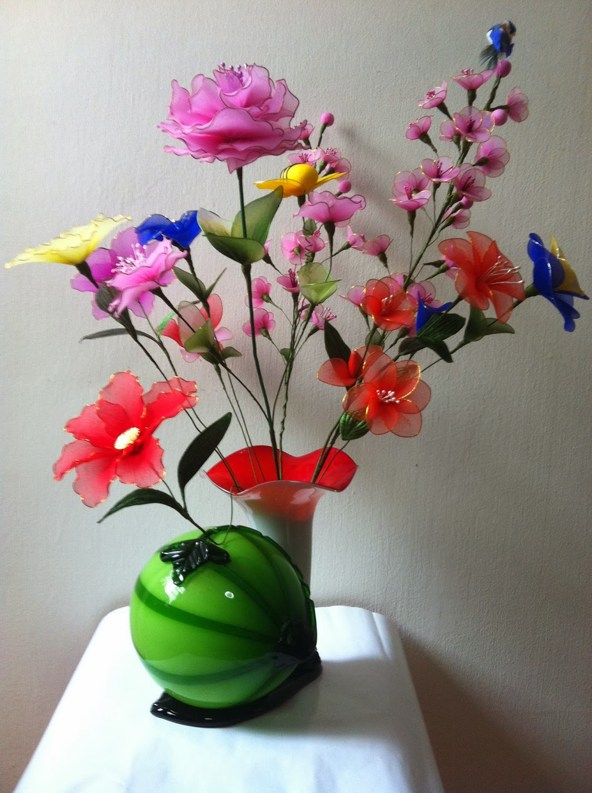 Handmade stocking flowers singapore watermelong vase for Flower arts and crafts