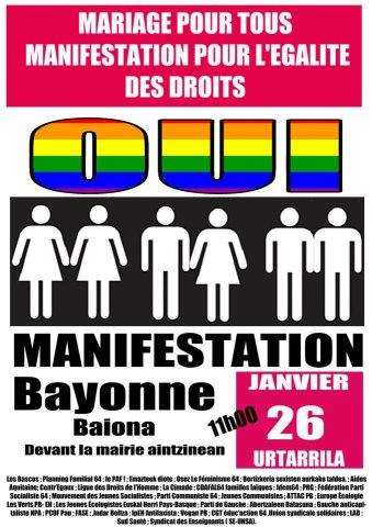Manifestation citoyenne pour l'égalité: SAMEDI 26 JANVIER 11H A BAYONNE,  PLACE DE LA LIBERTÉ