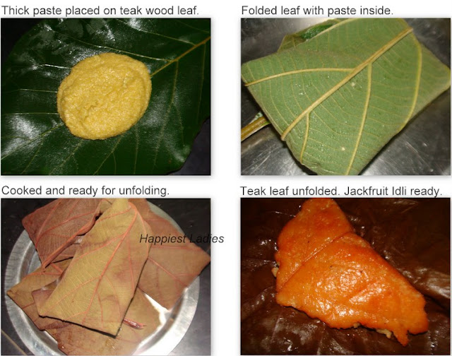 Jack fruit idli being cooked in teak wood leaf+fruit dishes