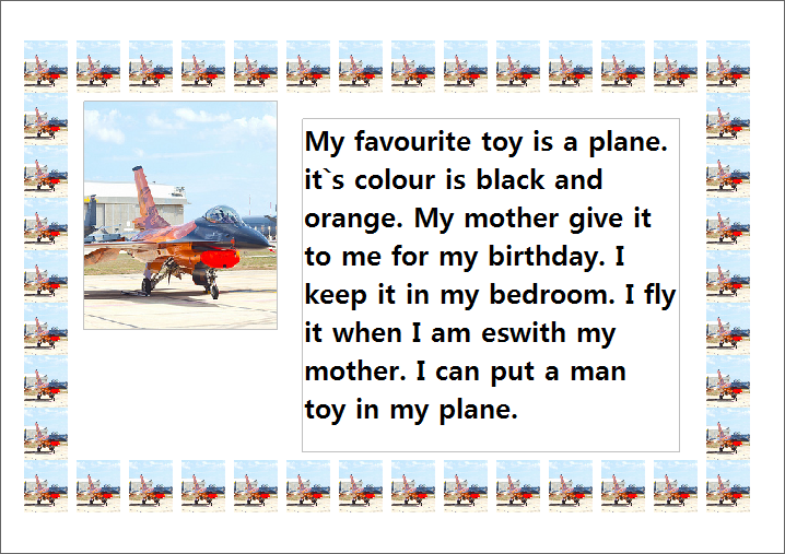 essay my favourite toy car kids Useful as part of a toys topic pupils have to decide what their favourite toy is - draw & label it and then write a description about it self assessment attached.