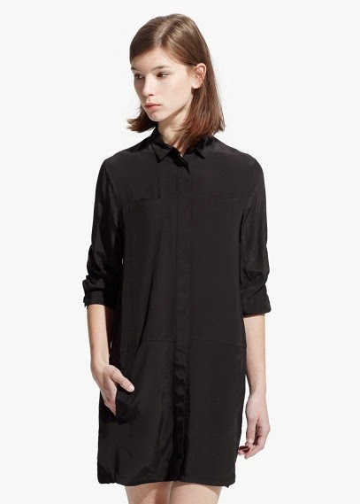 Mango 2015 Elbise Modelleri  siyah gömlek elbise, kısa model, yaz elbisesi, günlük elbise