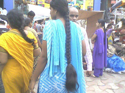 long hair lady in local temple festivals
