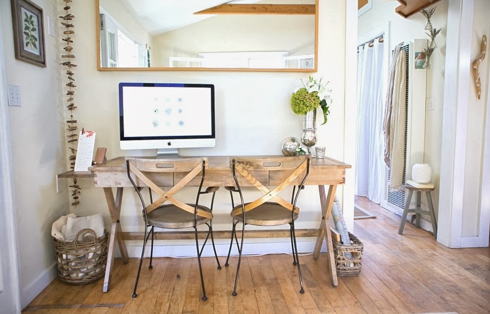 Small Home Office In A Beach Cottage That Doubles As Dining Room
