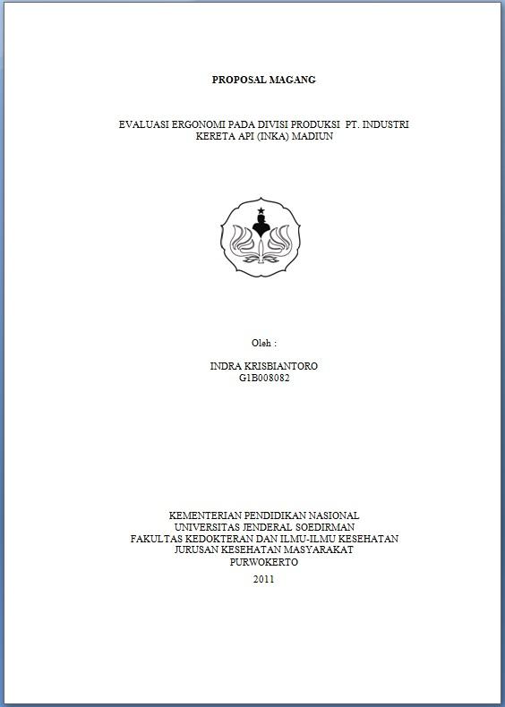 Journal Of Public Health Proposal Magang Evaluasi Ergonomi Pada