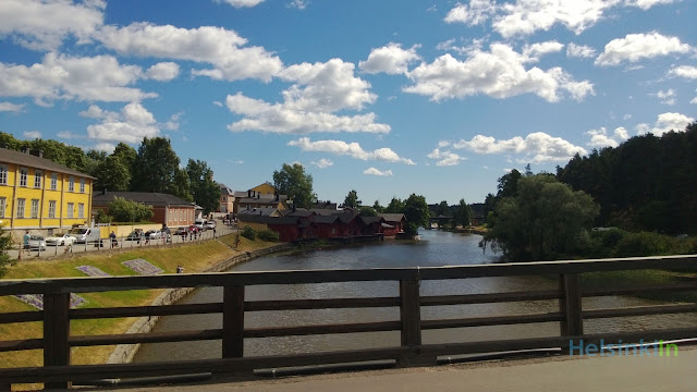 view onto the old town from the old bridge in Porvoo