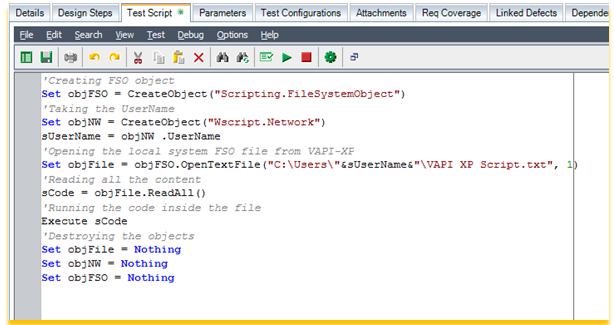 VAPI-XP Code in Test Script