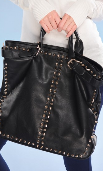 BLACK GOLD SPIKE STUDDED FAUX LEATHER PURSE