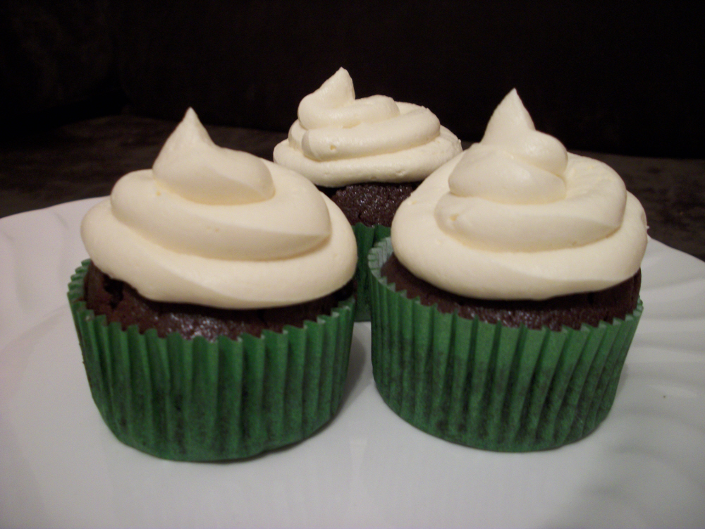 Chocolate Guinness cupcakes with chocolate whiskey ganache and Baileys ...