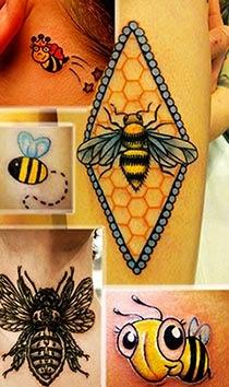 Tatuagem de abelha delicada fofa