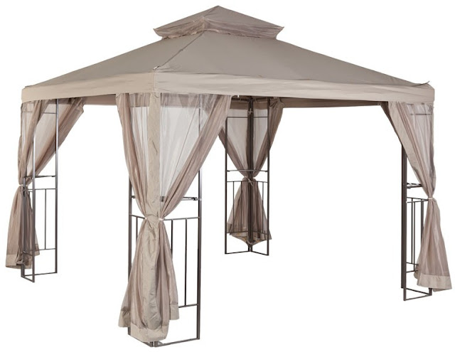 metal gazebo with curtains