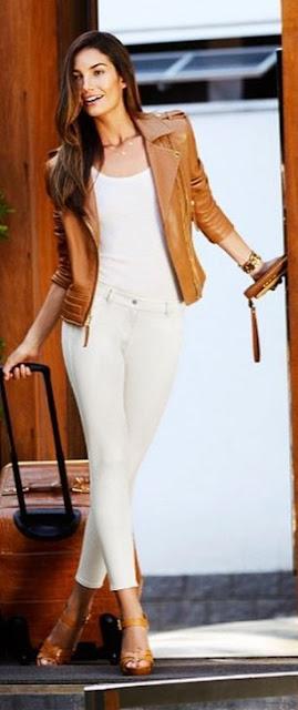 Blusão de cabedal camel  looks da modelo americana Lily Aldridge