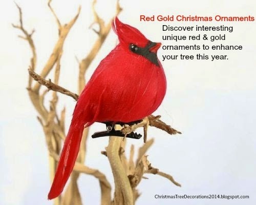red gold christmas ornaments - Bird Christmas Tree Decorations