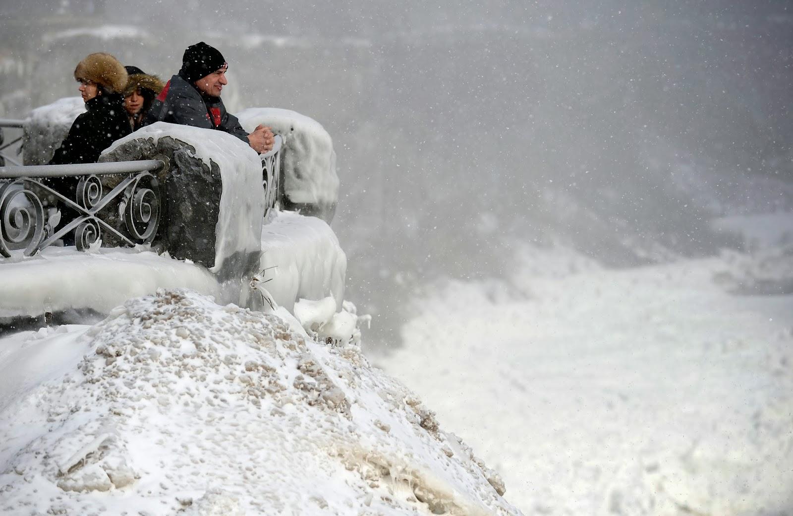 Kanada, USA, időjárás, tél, hidegrekord, Niagara-vízesés,