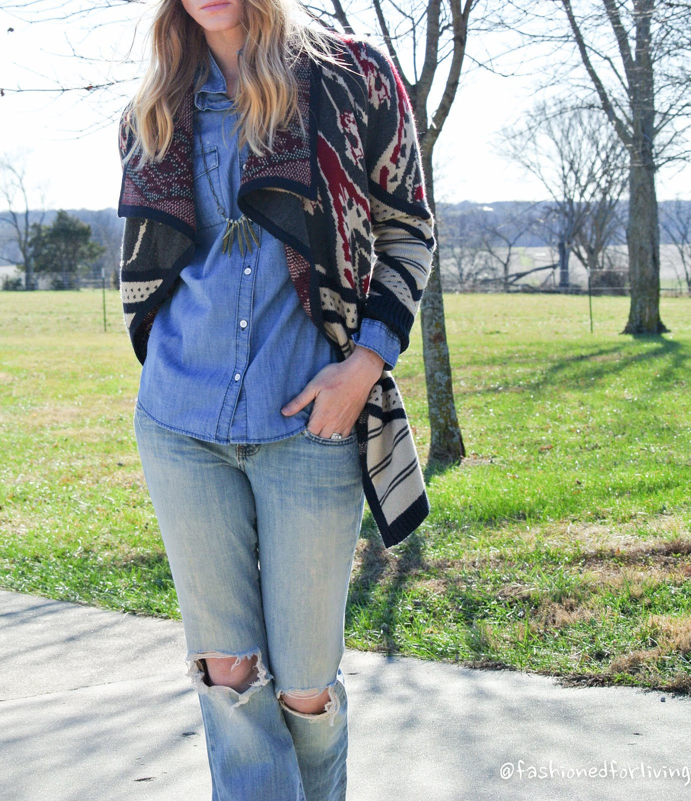 Ripped Flare Jeans, Fair Isle Aztec Cardigan, Denim Chambray Shirt, Pom Hat  and Cowboy Boots - Denim on Denim - Fashioned For Living: Ripped Flare Jeans, Fair Isle Aztec Cardigan