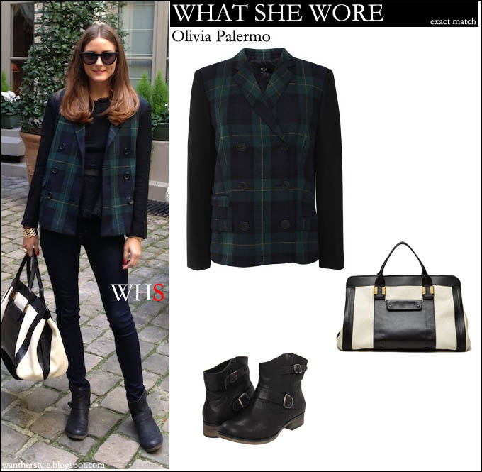 484d2f12d0c5 WHAT SHE WORE: Olivia Palermo in plaid blue green blazer with black ...