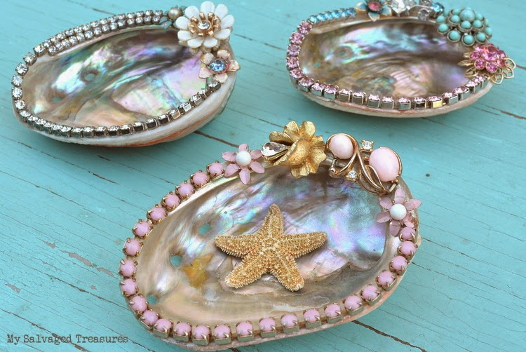 decorated abalone shells with vintage jewelry