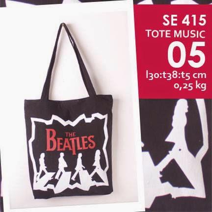jual online tote bag kanvas murah tema music logo grup band the beatles