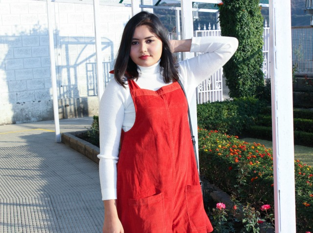 Red Suede Pinafore Playsuit