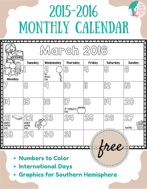 Calendar For Kids In Classroom : Classroom freebies too monthly calendar for kids