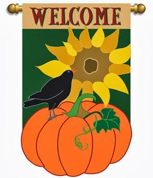 welcome pumpkin applique fall garden flag