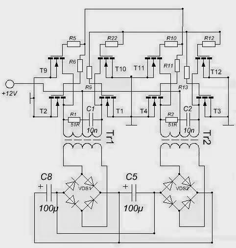 Принципиальная электрическая схема преобразователя 12-220в