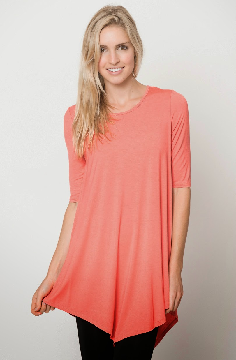 Buy online asymmetrical quarter sleeve tunic tops for women on sale at caralase.com