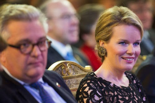 Prince Laurent and Queen Mathilde of Belgium during the autumn concert at the Royal Palace
