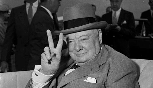 Victory sign by Winston Churchill