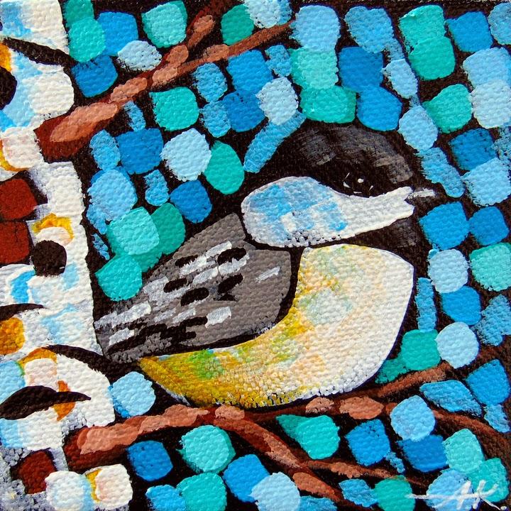 Chickadee, Aaron Kloss, Birch, Landscape, Sivertson Gallery, pointillism