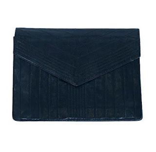 Vintage 1970's navy blue YSL clutch.
