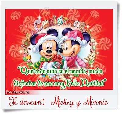 Mikey y Mimie con gorros de navidad