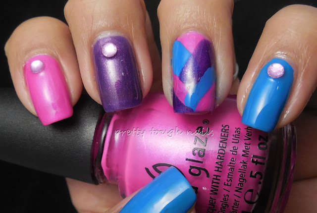 Fishtail Nail Art with China Glaze Purple Panic, Sinful Why Not, Elevation Mount Cangyan