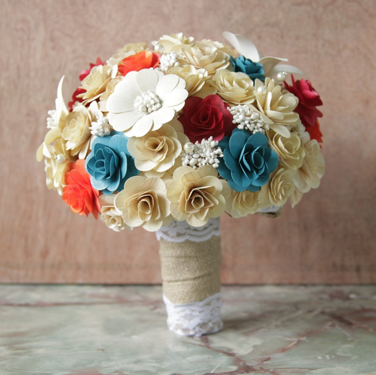 cherry red teal tangerine and cream wedding bouquets