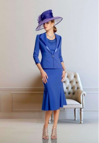 Satin Jewel A-Line Tea-Length Mother Of The Bride Dress with Matching Jacket