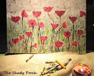 Art: A poppy field - crayons on a newsprint canvas by The Shady Porch