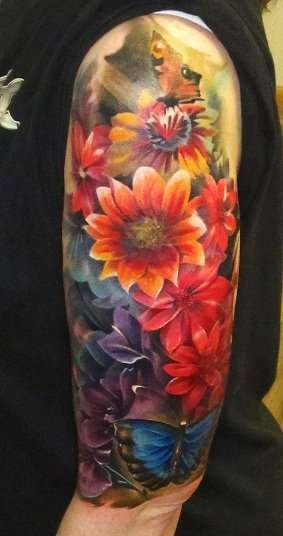colorful half sleeve tattoos for women