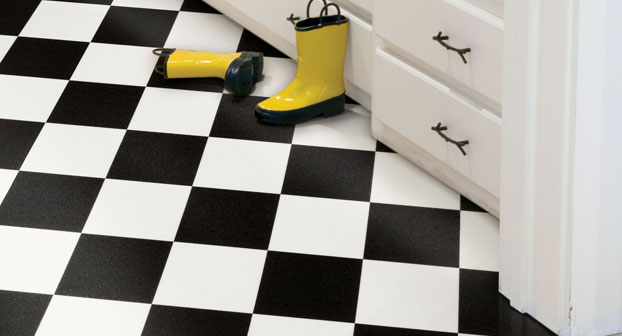 Belle on heels guest post and giveaway tina the for Checkered vinyl flooring