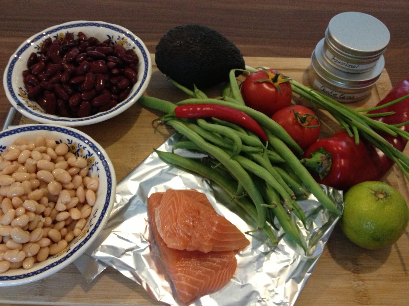 Warmer Bohnensalat mit Lachs