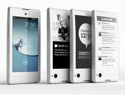 In arrivo nel mese di Dicembre la commercializzazione dello smartphone android con doppio display LCD e E-INK