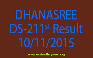 DHANASREE DS 211 Lottery Result 10-11-2015