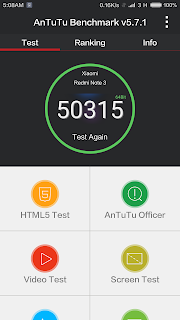 Xiaomi Redmi Note 3 - hasil atau skor Antutu Benchmark - mode Balanced
