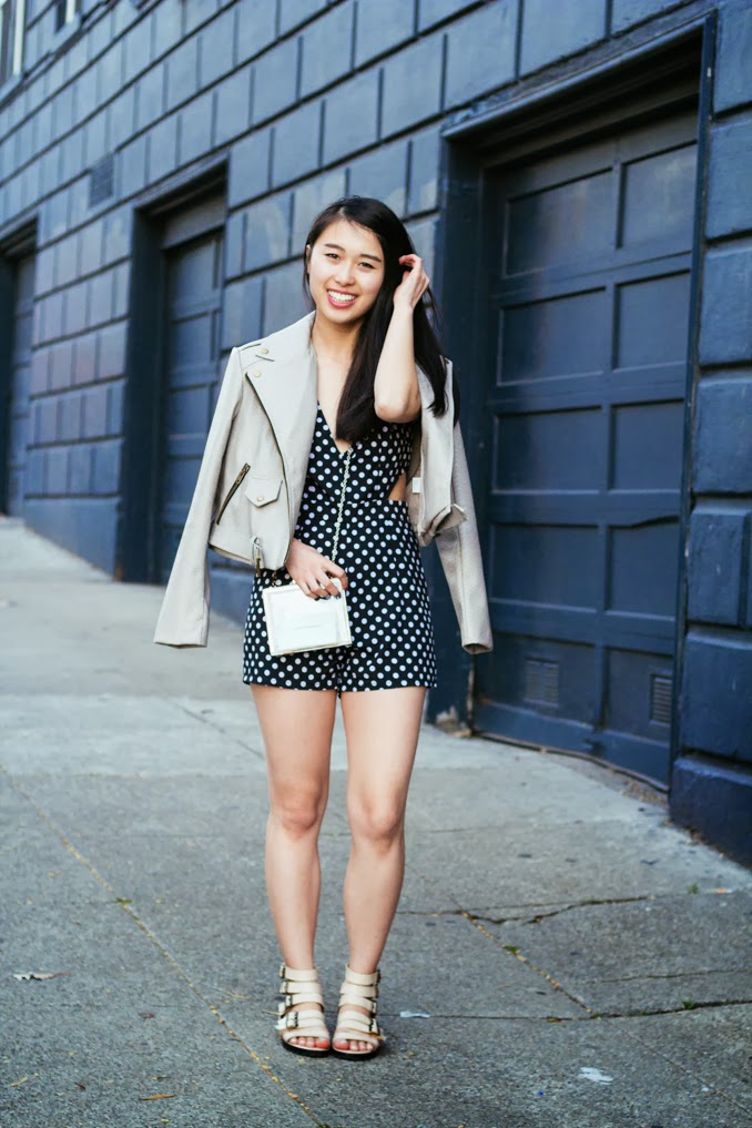 missguided polka dotted jumpsuit, clear box clutch, san francisco fashion blogger, agynes polka dot cut out playsuit, freja croc biker jacket, le bunny bleu