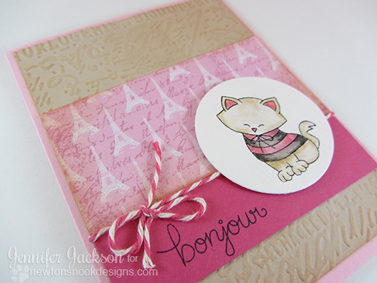 Bonjour Paris Cat Eiffel Tower Card by Jennifer Jackson | Newton Dreams of Paris Stamp set by Newton's Nook Designs