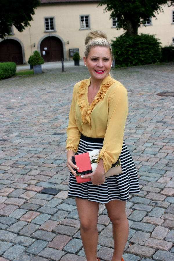 Fleurani striped pleated skater skirt with a pop of yellow and orange